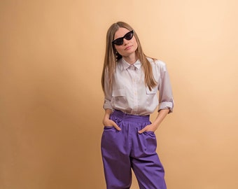 Lavender Boxy Button Up Shirt / Vintage 80s Shirt / Utilitarian Shirt / Silky Striped Blouse Δ fits sizes: XS/S/M
