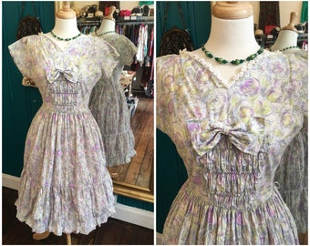 """1950s Floral Day Full Dress W28"""" Small UK10"""