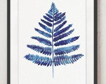 Royal Blue Fern Art Print, Leaves Wall Decor, Bedroom Art Botanical Painting, Watercolor Fern Illustration, Nature Poster Living Room Art