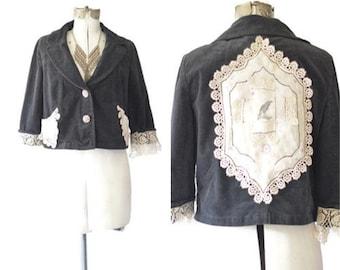 Victorian Shabby Crop Jacket, Victorian Chic blazer, Antique linen jacket