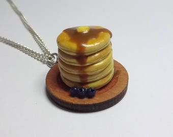 Handmade Polymer Clay Stack of Pancakes with Blueberries, Maple Syrup, Butter Necklace, Breakfast Necklace