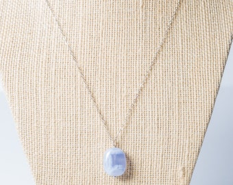 Long necklace, chalcedony pendant, rose gold, sterling silver, gold long necklace, semiprecious, blue