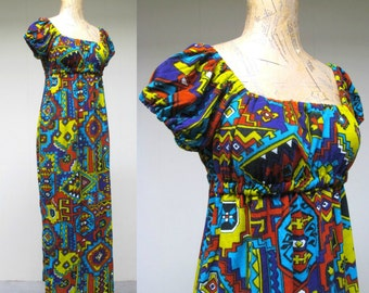 Vintage 1960s Dress / 60s Boho Jersey Southwestern Print Peasant Maxi Dress / Small
