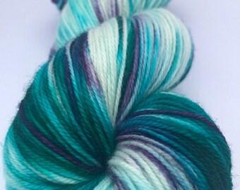 Fluorite-Hand Dyed- MCN-80/10/10-Superwash Merino/Cashmere/Nylon