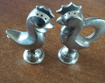 Vintage Metal Hen and Rooster Salt & Pepper Shakers