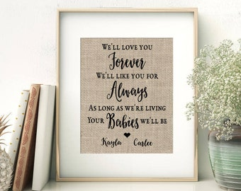 We'll Love You Forever - We'll Like You For Always - As Long As We're Living Your Babies We'll Be | Gift for Parents Mom Mother of the Bride