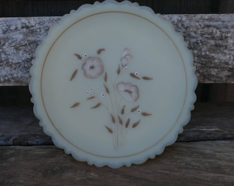 Fenton Hand Painted Plate, Hand Painted Plate with Wildflowers, Scalloped Edged Hand Painted Plate, Vintage Farmhouse Decor, Man Cave Decor