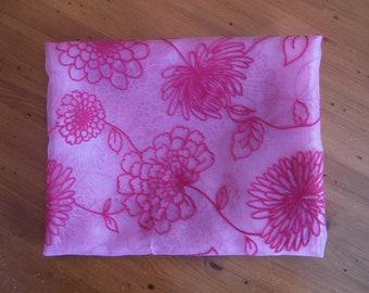Vintage Bright Pink Flocked Fabric - 1990's Fuchsia Pink Nylon Organza Flock Flocking Floral Flower Fabric - '90's Flowers Pink Fabric