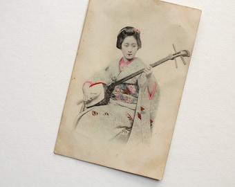 Antique Japanese RPPC - Real Photo Postcard - Shamisen Vintage Geisha Maiko Postcard