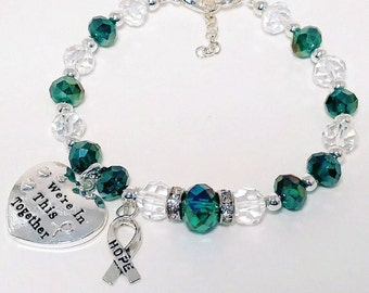 Cervical Cancer, Ovarian Cancer, Polycystic Kidney Disease, PKD, Teal Glass Beads, Hope, Hope Ribbon, Gift For Her, Gift for Mom