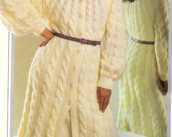 Ladies Long Cable Coat, Knitting Pattern. PDF Instant Download.