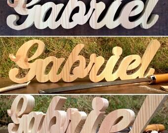 Name & decorative custom wood typo original