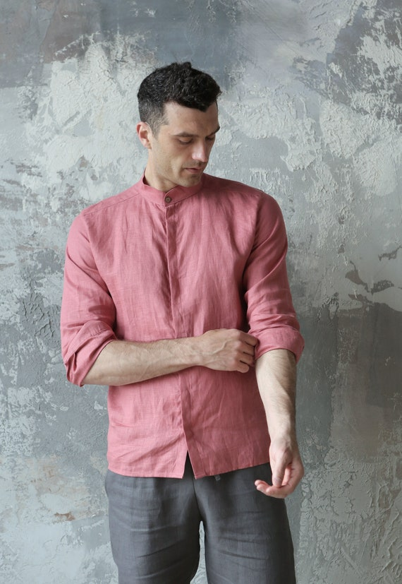 shirt shirt for Flax shirt shirt shirt Shirt Mens Natural Gift him 100 for flax men Beach Dress t Pink shirt linen PTnqSgx54