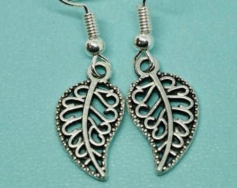 Leaf handmade earrings Tibetan silver filigree style, hang beautifully from silver plated ear wires, gift for her,