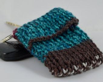 Minimalist Wallet, Blue Striped Key Ring Wallet, Striped Keychain, Key Chain Tea Tote, Reward Card Wallet, Valentines Gift for Him