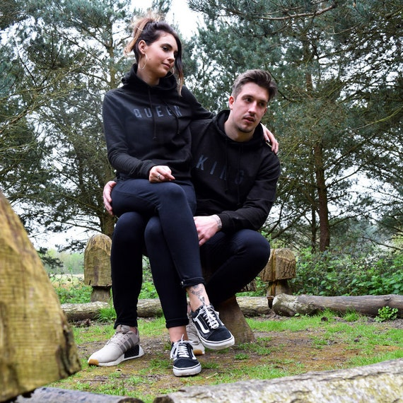 King & Queen Embossed Black Hoodies Twin Pack. Cute Couples Matching Goals Novelty Chill Relationships Gifts for her His Hers Mr xZzoaVB9GN