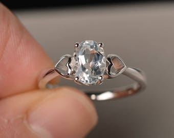 Solitaire Ring Natural White Topaz Ring Wedding Ring Oval Cut Gemstone Ring November Birthstone Sterling Silver Ring