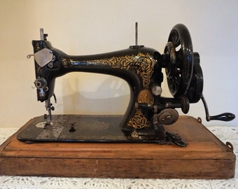 Antique Singer Sewing Machine 1891 Floral Detail Black and Gold Hand Cranked Domed Wooden Box Lid