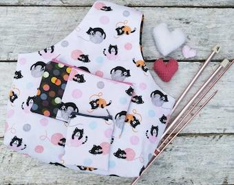Knitting or Crochet Project Bag Set. Kittens, kitties yarn bag. Travel craft tote. Cats and yarn balls. Pink, gray. Three (3) piece bundle.