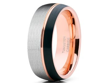 Tungsten Wedding Band,Rose Gold Wedding Band,Men & Women Anniversary,Ring Black Tungsten Ring,Offset Groove