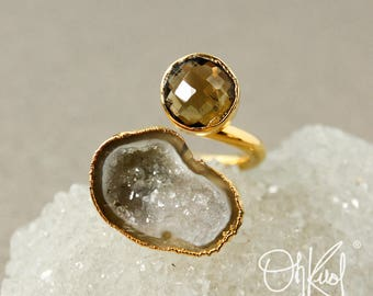 Gold Citrine & Agate Geode Slice Dual Ring - Two Stone Ring