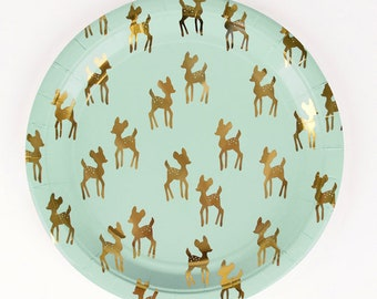 Golden Fawn Deer Christmas Birthday Paper Plates X 8 Gold Detail