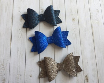 Faux Leather Hair Bows, glitter hair bows set, girls hair clips, Easter hair clips, baby hair clips, baby shower gift, birthday gift