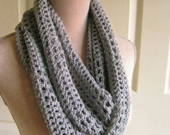 Crochet Lacy Cowl-Scarf-Soft Gray Circle Scarf-Lacy Crochet Scarf-Crocheted Scarf-Crochet Gray Scarf-Light Gray Cowl
