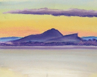 Forth Sketch (July Evening) original pastel landscape drawing of the Forth, Edinburgh in dusk