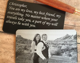 HUGE SALE! Engraved Wallet Insert - Photo Wallet Card - Engraved Photo,Wallet Card - Engraved Wedding Vows - Engraved Wedding Coordinates