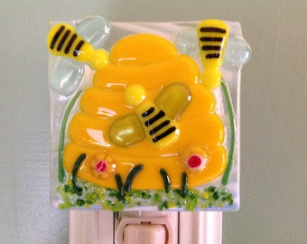 Beehive, Bees, Fused Glass, Night Light, Bumble Bees, Bee Keeper, Busy Bees, Honey Bees, Buzzing Bees