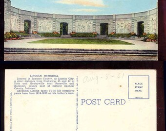 Lincoln Memorial Lincoln State Park Spencer County Indiana Vintage Postcard #254