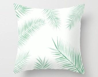 Palm Leaf Throw Pillow, palm leaf pillow, palm leaves pillow, botanical pillow, palm throw pillow, leaf throw pillow, modern pillow