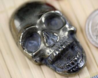 Exotic Natural Pyrite Skull Carved Pendant Bead J1321