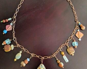 Copper necklace with jasper pendant