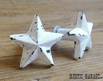 SET OF 2 - Distressed White Cast Iron Texas Star Knob - Metal Drawer Pull - Dallas Western Theme - Country Rustic Nashville Cabinet Decor