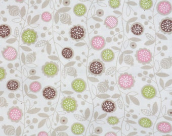 Coupon 50 x 52 cm cotton coated little skip flowers on white branch off