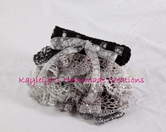 """Black & Silver Ruffle Skirt 