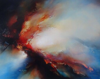 "Contemporary Large Canvas Abstract Mixed Media Painting by Professional Artist Simon Kenny ""A Day Without Harmony"""