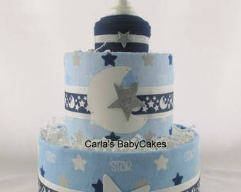 Boy diaper cake | Baby boy gift | Baby Diaper Cake | Baby Shower Gift |Moon Stars diaper cake | Baby shower decoration | Baby sprinkle gift