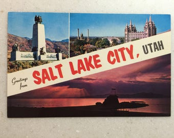 Vintage Postcard Greetings from Salt Lake City Utah