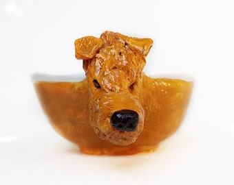 Irish Terrier Ceramic Bowl, Ginger dog mug, sculptured dog Art bowl, salad bowl, cereal bowl, children tableware, Terrier Soup mug