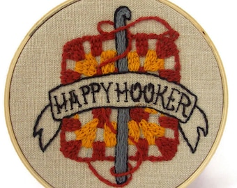 "Traditional embroidery kit ""Happy Hooker"""
