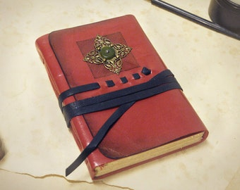 red leather journal, vintage style, travel notebook, leather note book, leather diary - The Living Flame
