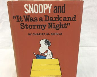 """c.1971 Snoopy and """"It was a Dark and Stormy Night"""" First Edition book"""