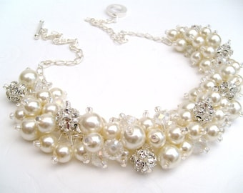 Set of 5 Pearl Necklaces,  Rhinestone Beaded Necklace, Ivory Jewelry, Cluster Necklace, Chunky Necklace, Bridesmaid Gifts, Ivory Necklace