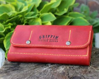 Big red wallet Womens wallet Red wallet Big leather wallet Custom big wallet Leather wallet women Large leather wallet Personalized wallet