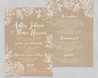 Floral wedding invitation template, Boho chic wedding invites floral, Rustic wedding invitations cheap, Floral kraft wedding invitation, A5