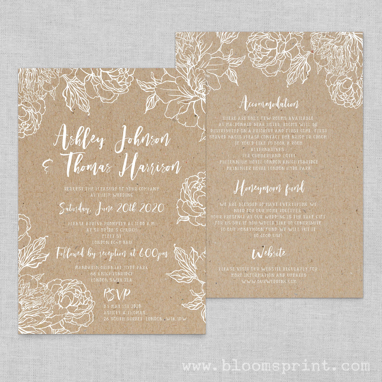 Floral wedding invitation template, Boho chic wedding invites floral ...