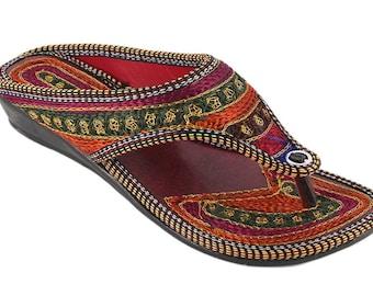 Rajasthani handmade multi color women's juti Rajasthani khilona Chappal